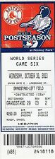 2013 World Series GM 6 Ticket Pass Boston Red Sox Champs/David Ortiz MVP/Nr Mt