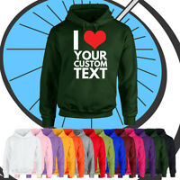 Unisex Personalised I Heart Hoodie - Custom Your Text Printed - Ladies & Mens