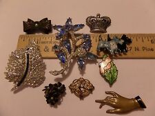 9 LOT VINTAGE SOME OLDER PINS BROOCHES FROM ESTATE DOG HAND BOW CROWN