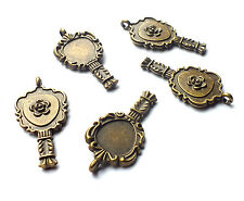 5 Rose Mirror Charm/Cabochon Mini Frame Setting Vintage/Steampunk/Looking Glass