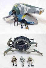 Star Wars AOTC Jango Fett's Slave 1 & Grievous Wheel Bike Loose w/ Figures