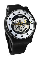 Swatch SUOZ147 Silver Glam Dial Black Rubber Strap Unisex Watch NEW