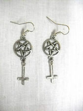 SATANIC OCCULT PENTAGRAM STAR & INVERTED CROSS DOUBLE DANGLING CHARM EARRINGS