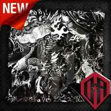 HYDROGRAPHIC WATER TRANSFER HYDRO DIPPING FILM DIP BIKER SKULL FLAMES TRIBAL BW