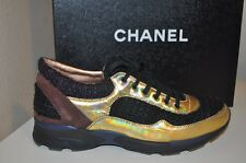 CHANEL 14K Runway Tweed Multi Color Holographic Lace Up Fashion Sneaker Shoe 9.5