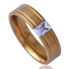 Rare Mens Unisex crystal wedding Band Ring Yellow gold filled Size 11#