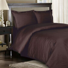 1500 Thread Count 100% Egyptian Cotton DUVET Set FULL / QUEEN Chocolate Stripe