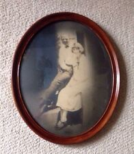 Antique Vintage Oval Wood Frame with Convex Bubble Glass Old Photography Photo