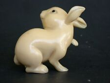 Vintage Japanese ivory color netsuke -Big Recumbent White RABBIT