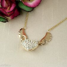 N5 GOLD PLATED HEART AND ANGEL WINGS PENDANT NECKLACE WITH RHINESTONE CRYSTALS