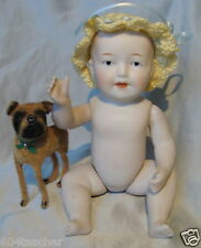 ANTIQUE GERMAN*ALL BISQUE DOLL*PORCELAIN BABY DOLL~GERMANY DOLL ~OUTFIT/PET DOG