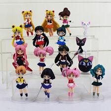 16pcs/set Anime Sailor Moon Mars Mercury Jupiter Venus chibi 6-8cm PVC Figure