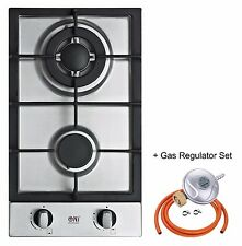 30cm Built-in Gas Hob 2 Burner WOK Stainless steel Cooktop Domino-302S LPG / NG