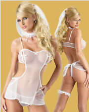 New Sexy White Wedding Bridal Lingerie Babydoll Honeymoon Outfits G-String