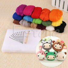 Lot 16 Colors Wool Felt Needles Felt Tool Set + Needle Felting Mat Starter Kits