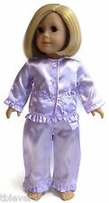 """Lavender Satin Pajamas Sleepwear made for 18"""" American Girl Doll Clothes"""