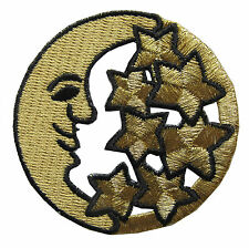 "2-3/8"" Embroidery Iron On Golden Moon and Star Applique Patch"