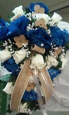 21 Pc wedding Pkg Royal Blue Ivory and Burlap Sale! Bouquets, bout and corsages