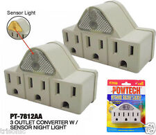 3 Outlets Converter Grounded w Sensor Night Light Wall Tap Adapter UL Lot of 2