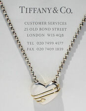 Tiffany & Co 18Ct 18K Gold Sterling Silver Heart & Arrow Necklace