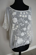 NEW 4 Love & Liberty Johnny Was Silk Floral Embroidered Tee Top Blouse White S