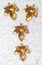 VINTAGE HIGHLY DETAILED BRASS LEAF CHARMS STAMPINGS FINDINGS 12 PCS