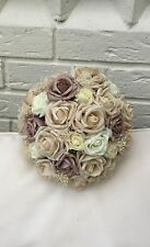 WEDDING FLOWERS BOUQUET VINTAGE CHAMPAGNE BEIGE NUDE IVORY ROSES BRIDE PEARLS