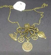 Steampunk, goth, Victoriano Collar con Kraken/Pulpo colgante con encantos