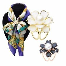Scarf Pin Loop Flower Ring Pearl White Crystal Scarf Buckle Clip Gift UK