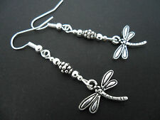 A PAIR OF PRETTY TIBETAN SILVER DANGLY DRAGONFLY THEMED  EARRINGS. NEW.