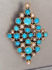 Tested 9k Gold Stunning Seed Pearl Victorian Turquoise Gold Brooch