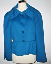 St John Blue Long Sleeve Button Front Crop Angora Wool Cashmere Coat Size 10
