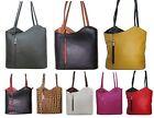 Schultertasche Hand-Tasche als Rucksack tragbar Umhängetasche in Echt-Leder