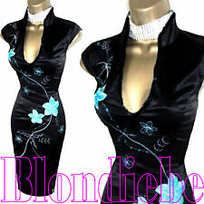 JANE NORMAN Exquisite NEW BLACK & Aqua SATIN ORIENTAL Wiggle DRESS UK 14