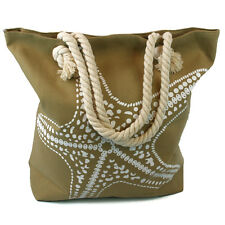 Large Starfish Beach Bag Beige Zip Fastener Rope Handles Holiday Travel Seaside