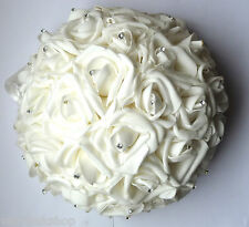 "WHITE FOAM ROSE AND DIAMANTE 9"" HALF BALL WEDDING TABLE BRIDESMAID DECORATION"