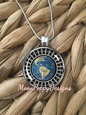 Peace On Earth Globe People Unity Glass Pendant Silver Chain Necklace NEW