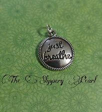 Quote Charm Word Charm JUST BREATHE 19mm Antiqued Silver Inspirational Words