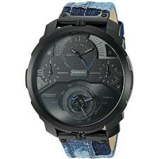 NEW MENS DIESEL (DZ7381) MACHINUS BLUE DENIM LEATHER STRAP WATCH