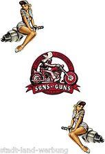 140 Set Sons of Guns Aufkleber/Sticker/Rockabilly/Bobber/Tuning/Pin Up/Motorrad
