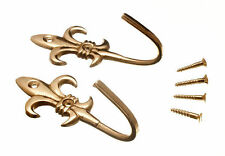 NEW CURTAIN TIE HOLD BACK HOOKS 80MM FLEUR DE LYS BRASS SCREWS ( 100 pairs )