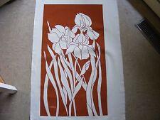 Marushka Unframed Screen Print, Large, Iris Flowers, Irises, Orange