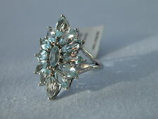 LOT 114 STUNNING LARGE SKY BLUE TOPAZ SOLID STERLING SILVER RING SIZE N 1/2