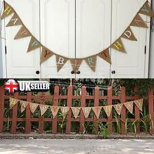 13 Flag Vintage Burlap Hessian HAPPY BIRTHDAY Party Bunting Banner Garland Decor