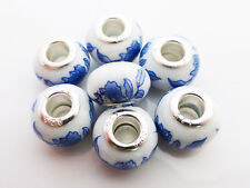 5 x Blue Porcelain Ceramic Charm Beads 15mm x 10mm Fit European Charm Beads