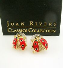 "Joan Rivers Lady Bug Crystal & Enamel  Earrings  1/2""  RED goldtone"