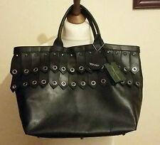 CHRISTIAN VILLA Milano Made in Italy Tote Studed Handbag Black