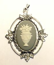 Large Genuine, Wedgwood Cameos on Pendant - White Urn With Flowers