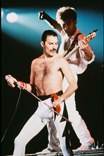 Queen Freddie Mercury bare chested concert John Deacon on guitar 11x17 Poster