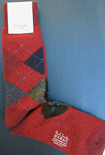 Paul Smith Mens Mid Length Socks Argyle Made in UK F551 Red One Size Wool Mix